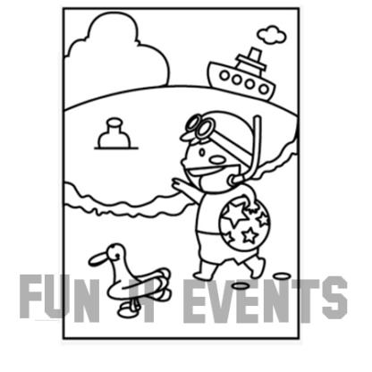 zandkleurplaat kinderen strand