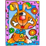 zandtekening hond02
