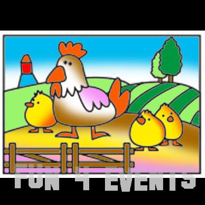 zandtekening kippen boerderij