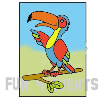 zandtekeningn papegaai
