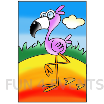 flamingo gekleurd zandtekenign